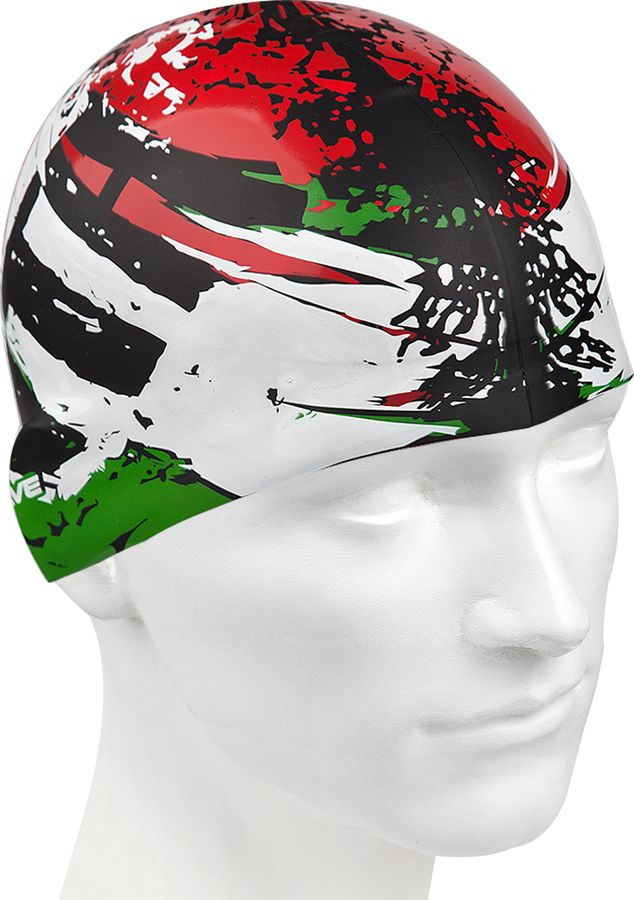 Шапочка для плавания MadWave Italy, 10019027, зеленый, белый, красный, черный