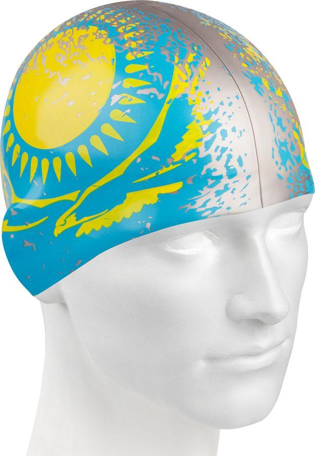 Шапочка для плавания MadWave Kazakhstan, M0553 08 0 01W, серый, голубой, желтый шапочка для плавания mad wave reverse champion цвет розовый фиолетовый