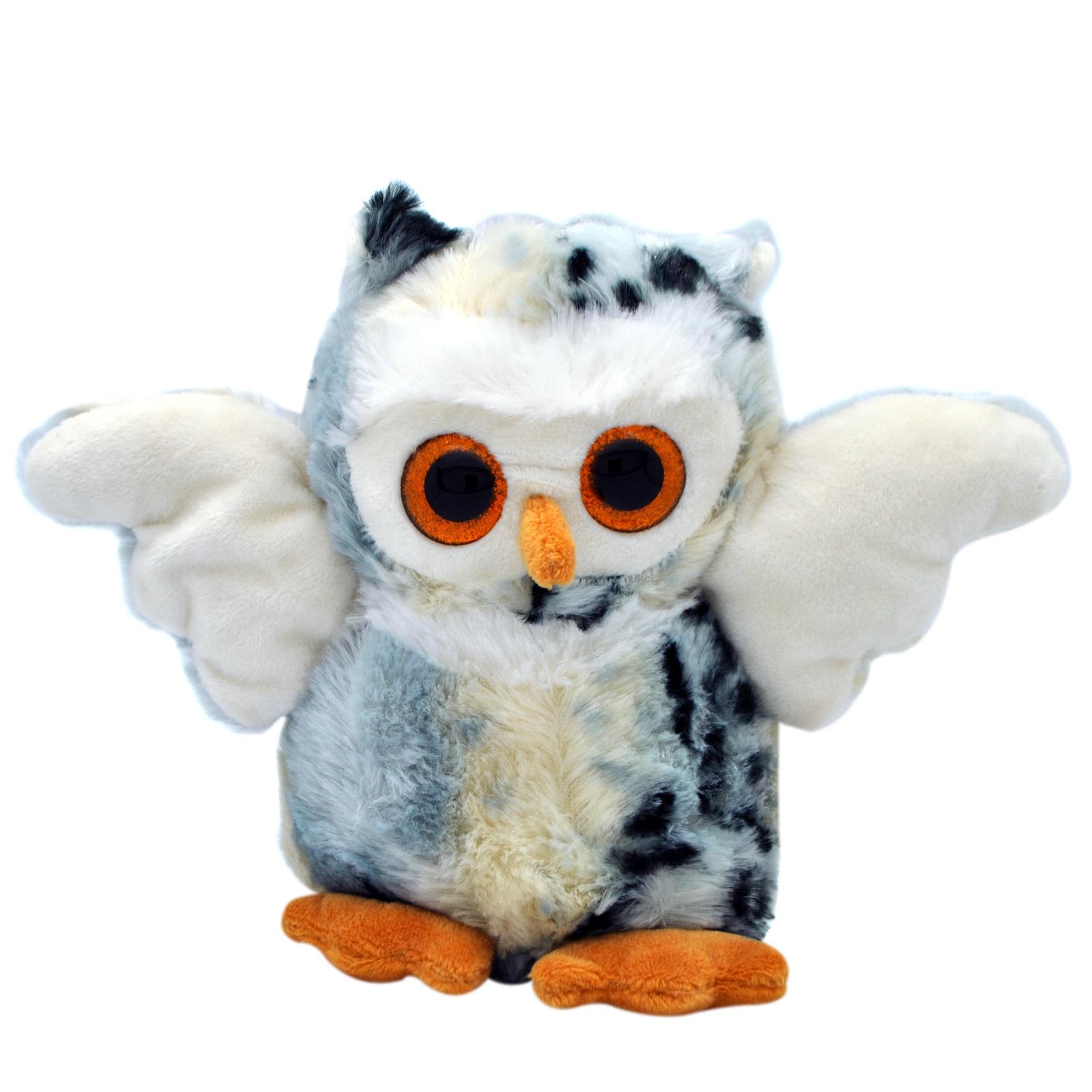 Мягкая игрушка АБВГДЕЙКА Сова светло-серый мягкая игрушка в пайетках сова 10см