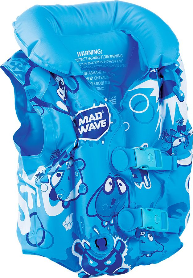 Жилет для плавания детский MadWave Mad Bubbles, M0756 02 0 04W, синий, белый, зеленый, 3-6 лет