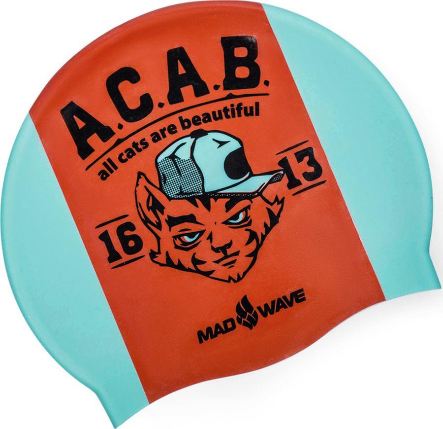 Шапочка для плавания MadWave A.C.A.B., 10023513, бирюзовый