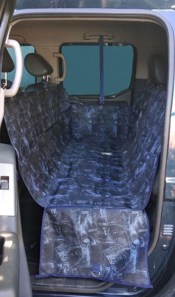 Автогамак для перевозки животных с защитой дверей (с бортами) Теремок 145*130 см. цвет темно-синий автогамак auto premium для перевозки некрупных собак