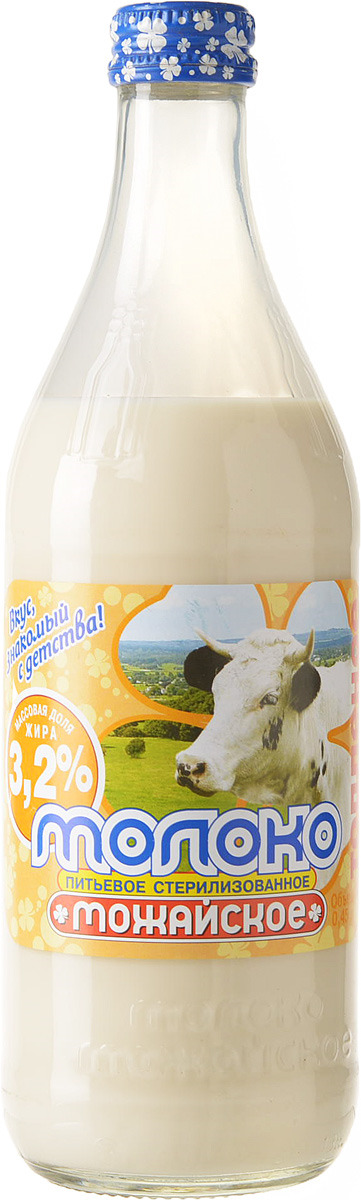Молоко Можайское молоко, топленое, стерилизованное 3.2%, 450 мл молочная продукция агуша молоко стерилизованное с пребиотиком 2 5% 200 мл