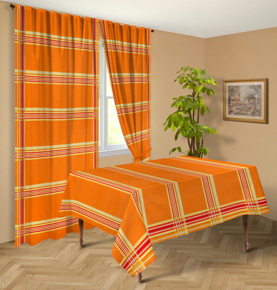 """Комплект штор Никатекс """"Герберы"""", НШГ-2-140-220-2, оранжевый, 220 х 140 см, 2 шт"""