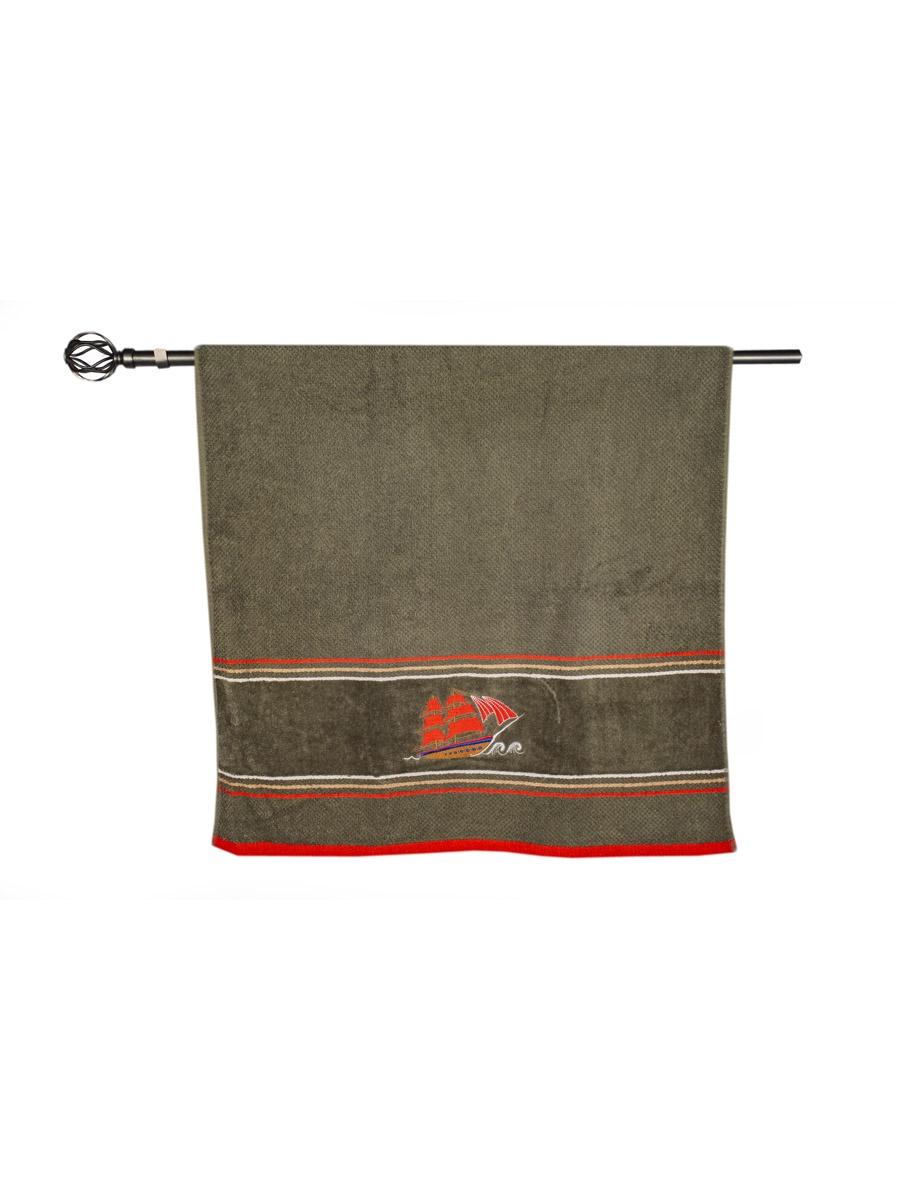 Полотенце банное Grand Stil Фрегат, размер 65*135, N17-220b, зеленый
