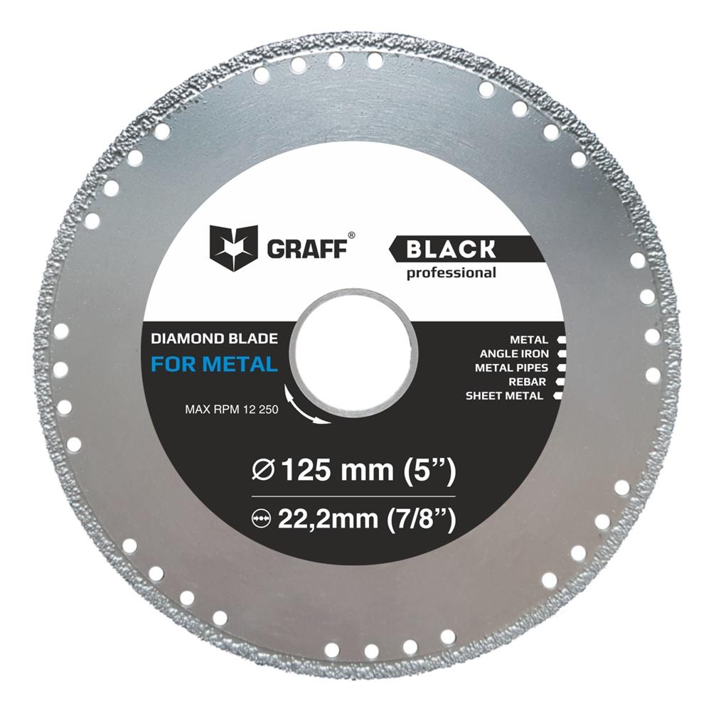 Круг отрезной GRAFF Диск по металлу Black, алмазный для УШМ, Сталь круг отрезной graff gadi 125 16