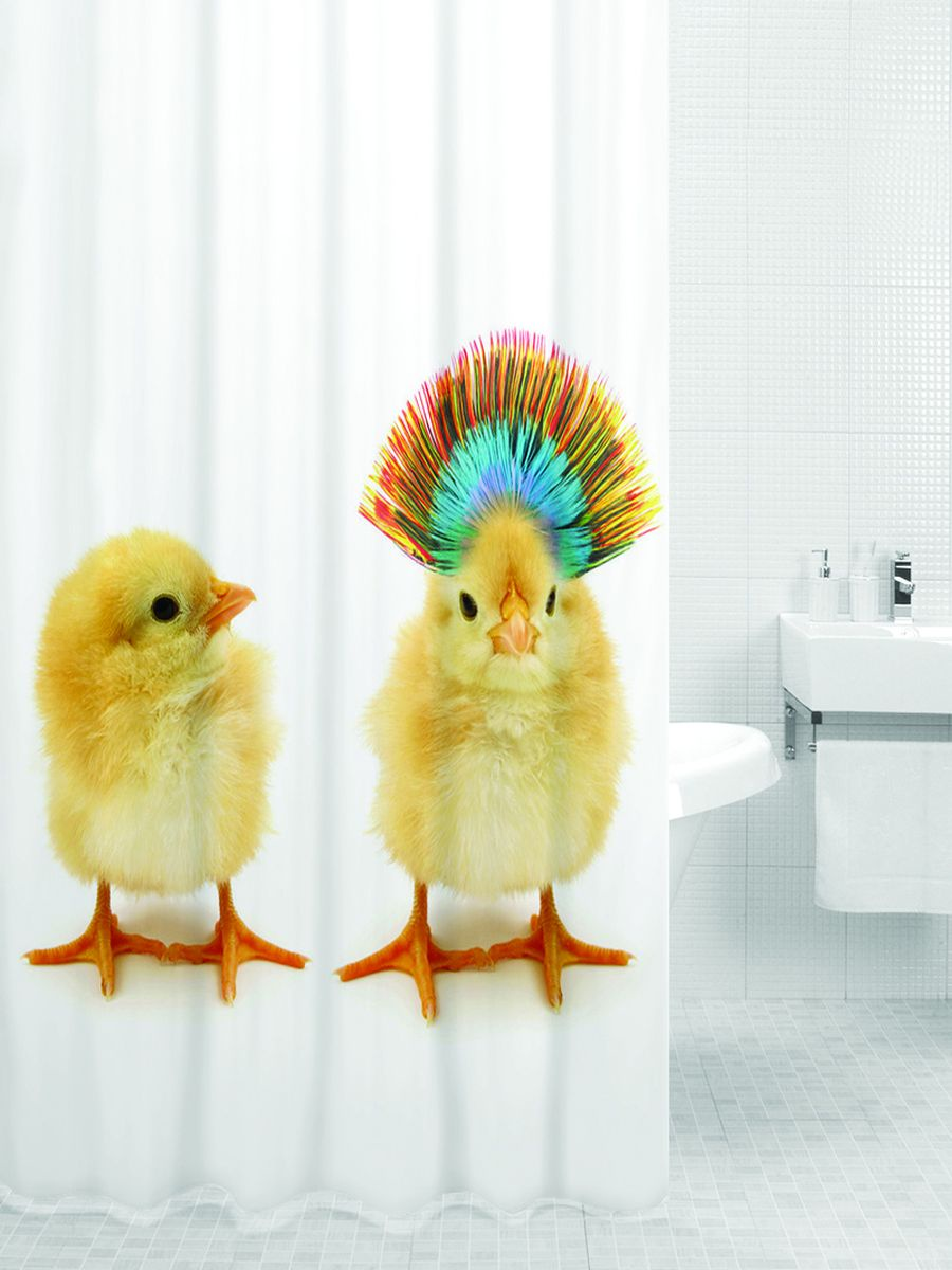 Штора для ванной BATH PLUS BABY CHICKENS (Цыплята), бежевый шторы homedeco нитяные шторы яркие кольца
