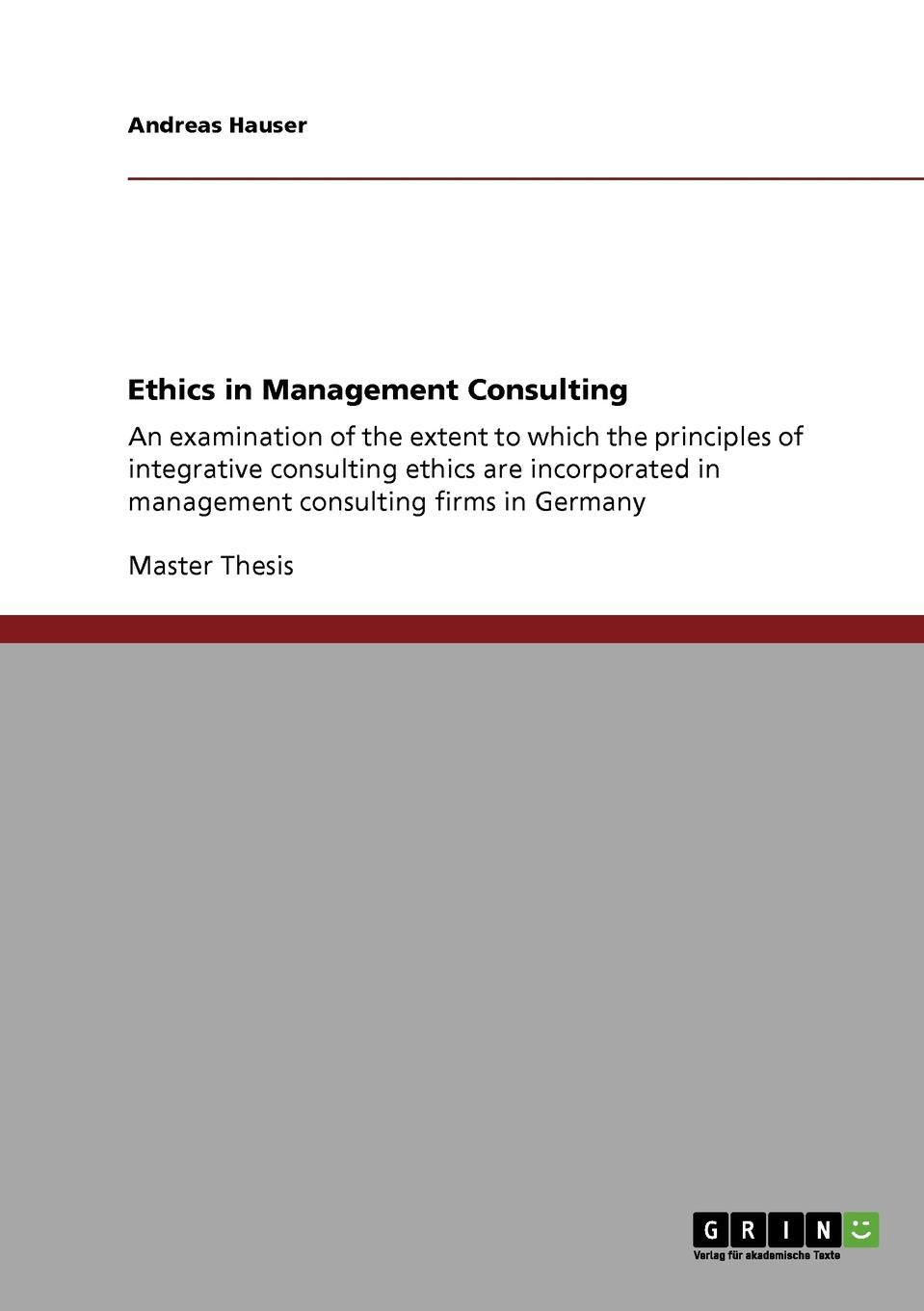 Andreas Hauser Ethics in Management Consulting цены