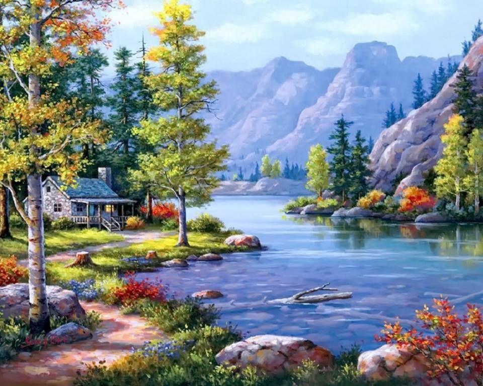 """Картина по номерам Paintboy """"Домик в горах"""" 40х50 см"""