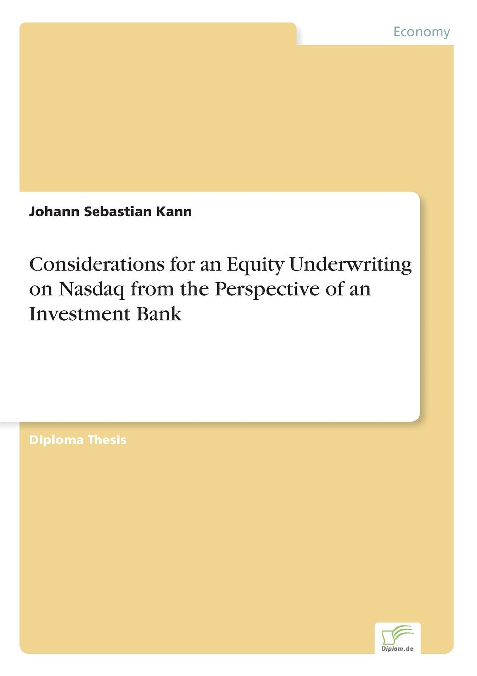 Johann Sebastian Kann Considerations for an Equity Underwriting on Nasdaq from the Perspective of an Investment Bank free shipping lt1037amj8883 goods in stock and new original