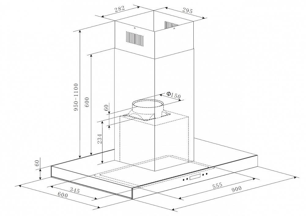 Вытяжка  HARBOUR Glass (Isla) 90 INOX Glass Black, черно-серый Гарантия 3 года! Основные характеристики: Максимальная...