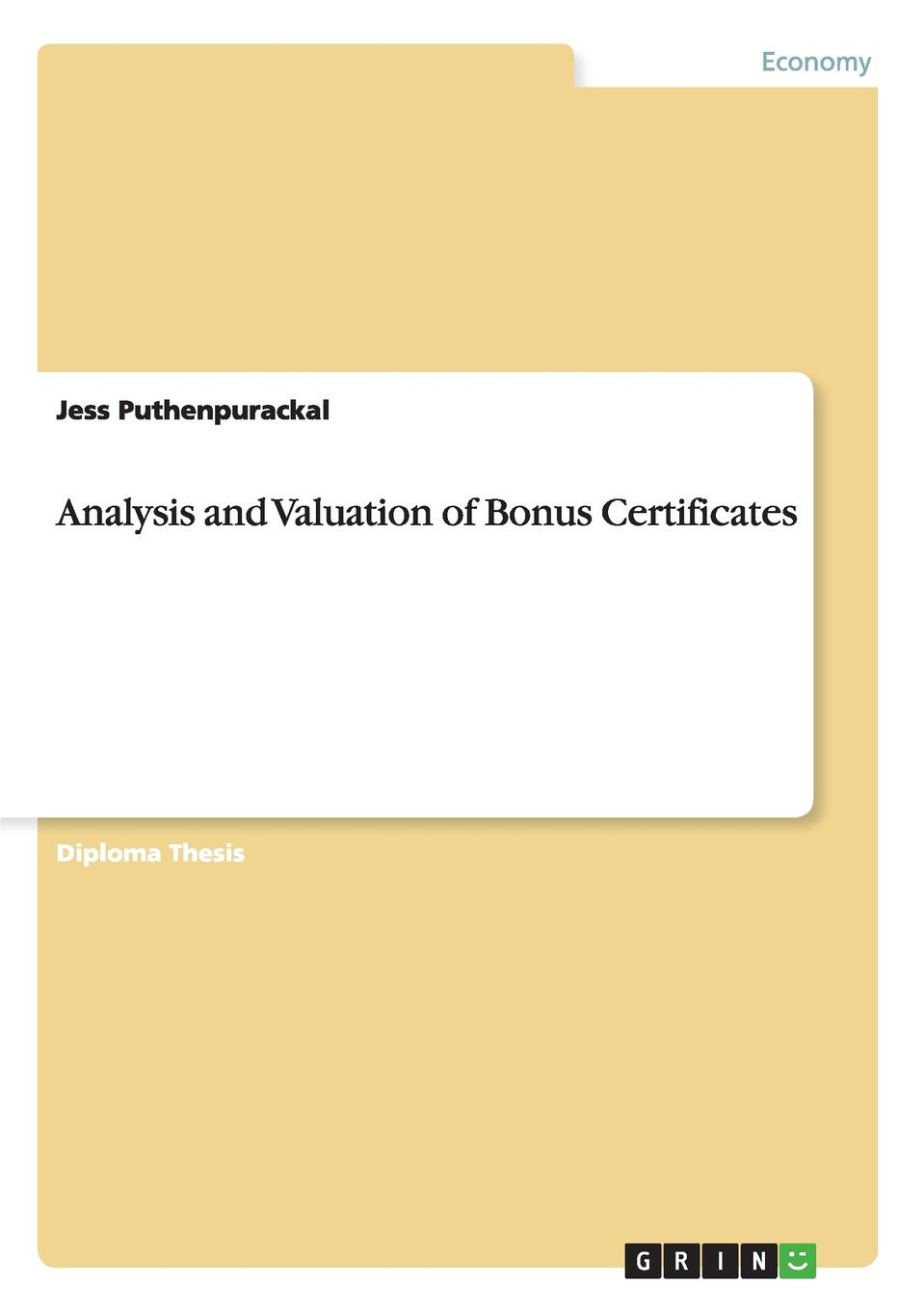 Jess Puthenpurackal Analysis and Valuation of Bonus Certificates new in stock skb30 02a1
