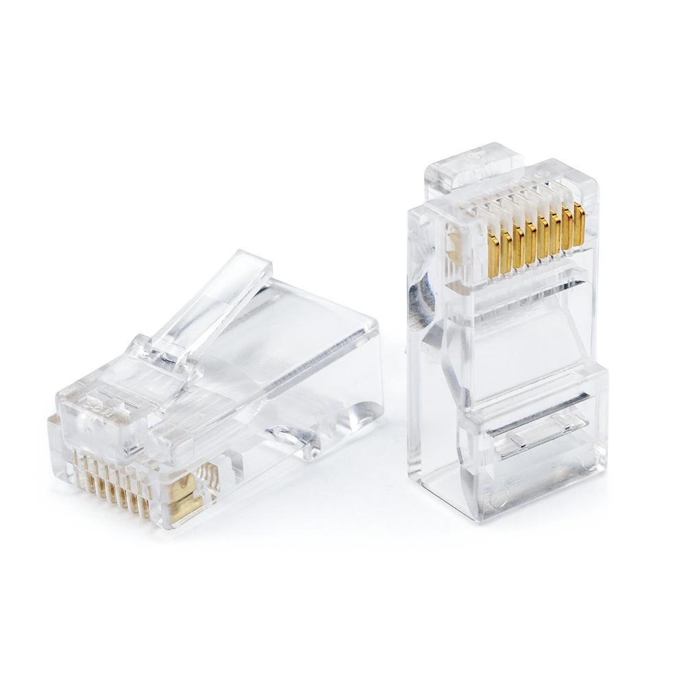 цена на Коннектор ATcom RJ45 (8p8c), категория 5e , в упаковке 100 шт. , золотое напыление, прозрачный