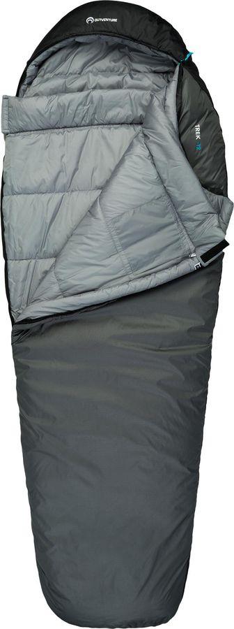 Спальный мешок Outventure Trek T -12, S19EOUOS010-91, правосторонняя молния, серый, размер M-L