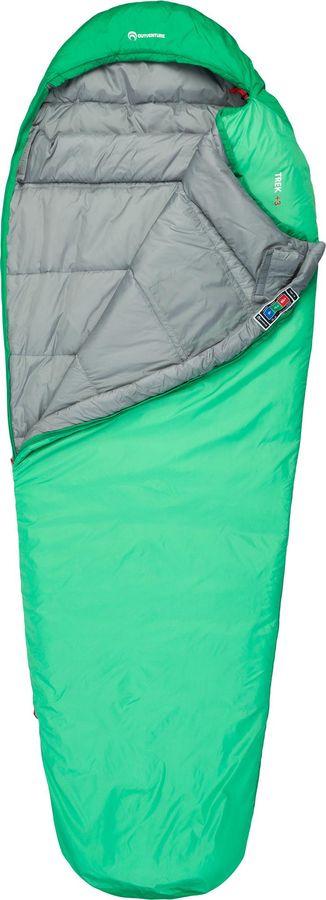 лучшая цена Спальный мешок Outventure Trek T +3, S19EOUOS018-G4, правосторонняя молния, зеленый, размер M-L