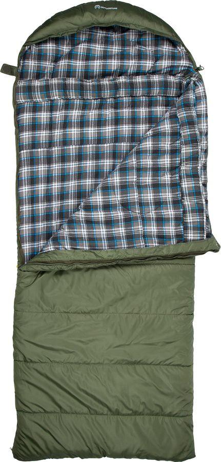 Спальный мешок Outventure Yukon T-6, S19EOUOS056-G3, правосторонняя молния, темно-зеленый, размер M-L