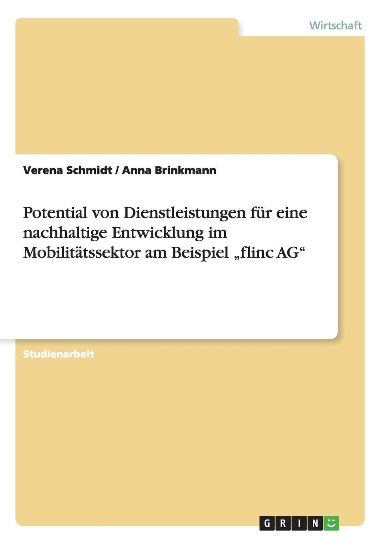 Verena Schmidt, Anna Brinkmann Potential von Dienstleistungen fur eine nachhaltige Entwicklung im Mobilitatssektor am Beispiel .flinc AG flinc 280 l