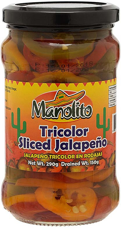 Овощные консервы Manolito Перец халапеньо трехцветный резаный, 290 г