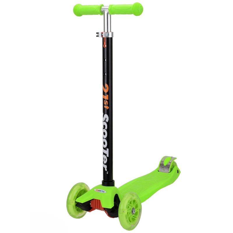 трехколесные самокаты Самокат 21st Детский Scooter Maxi (зеленый), зеленый
