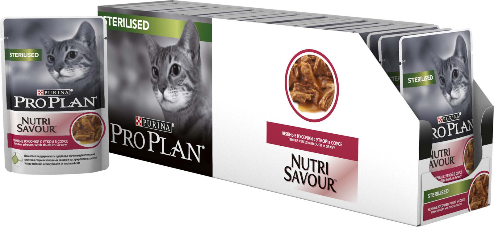 Фото - Консервы Pro Plan, для стерилизованных кошек, с уткой в соусе, 24 шт x 85 г консервы pro plan для стерилизованных кошек с океанической рыбой в соусе 24 шт x 85 г