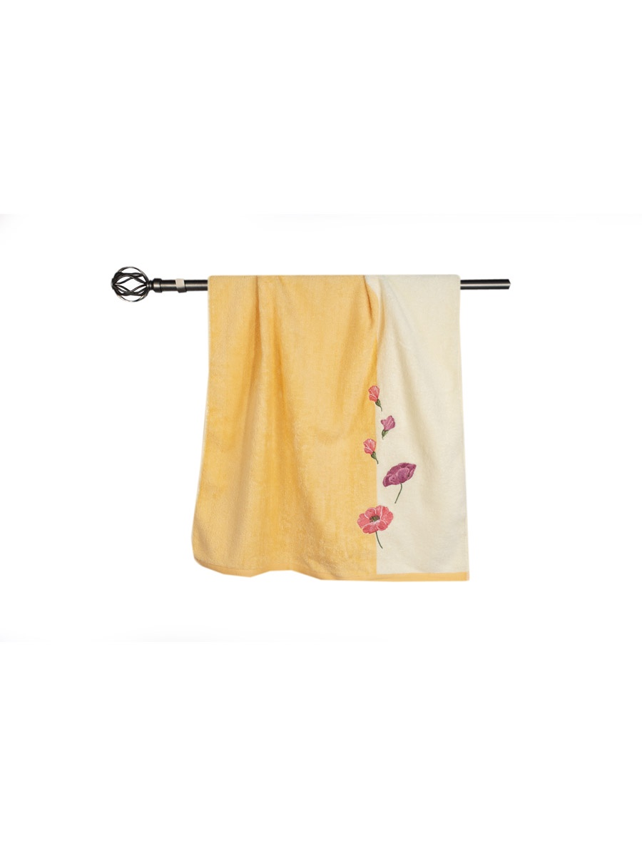 Полотенце банное Grand Stil Маки, размер 68*135, Т753b, оранжевый