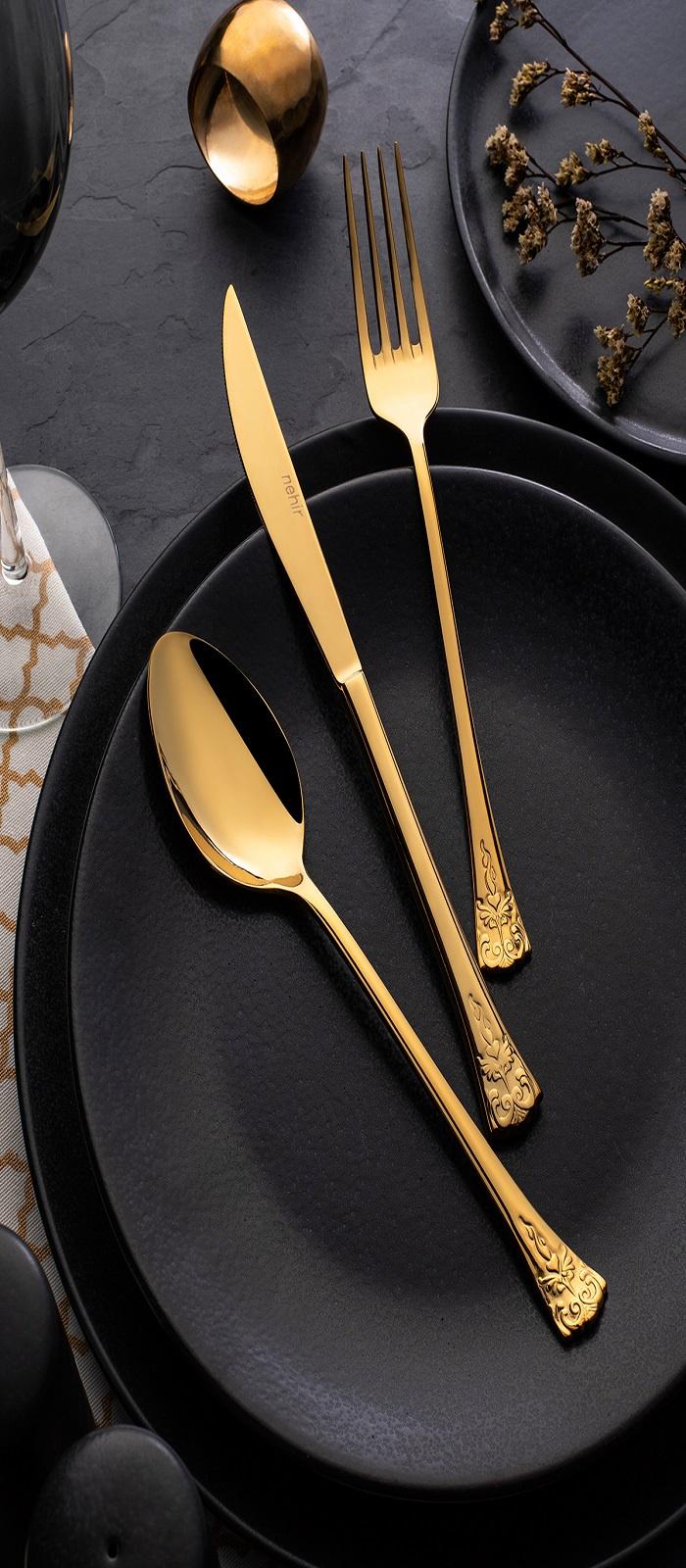 купить Набор столовых приборов NEHIR AKASYATITANIUMGOLD, золотой по цене 15498 рублей