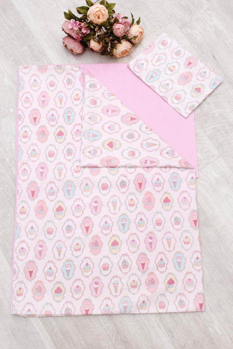 Комплект в кроватку AmaroBaby Time to Sleep Пироженки, AMARO-3403-PR, розовый, 3 предмета