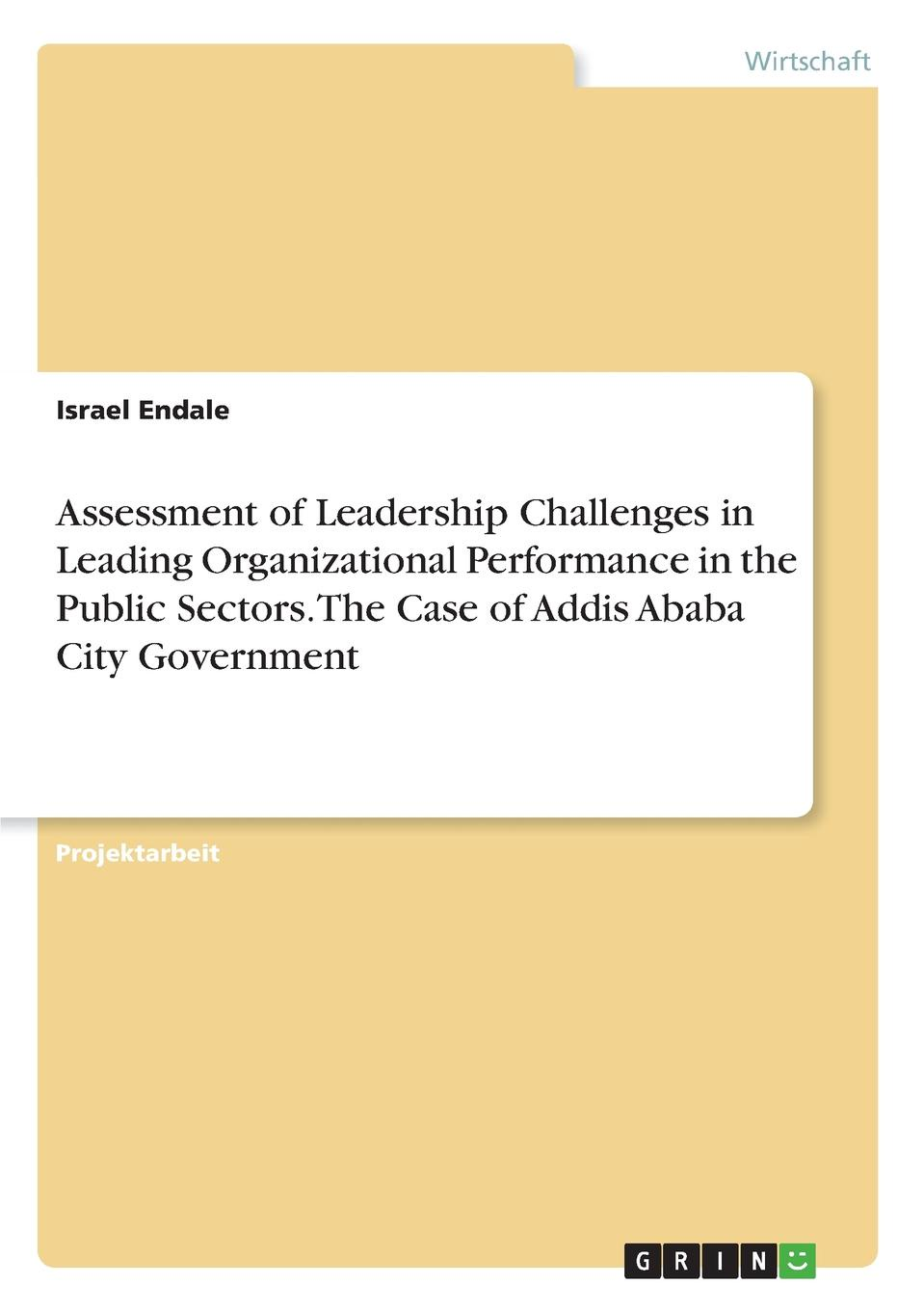 Israel Endale Assessment of Leadership Challenges in Leading Organizational Performance in the Public Sectors. The Case of Addis Ababa City Government недорго, оригинальная цена