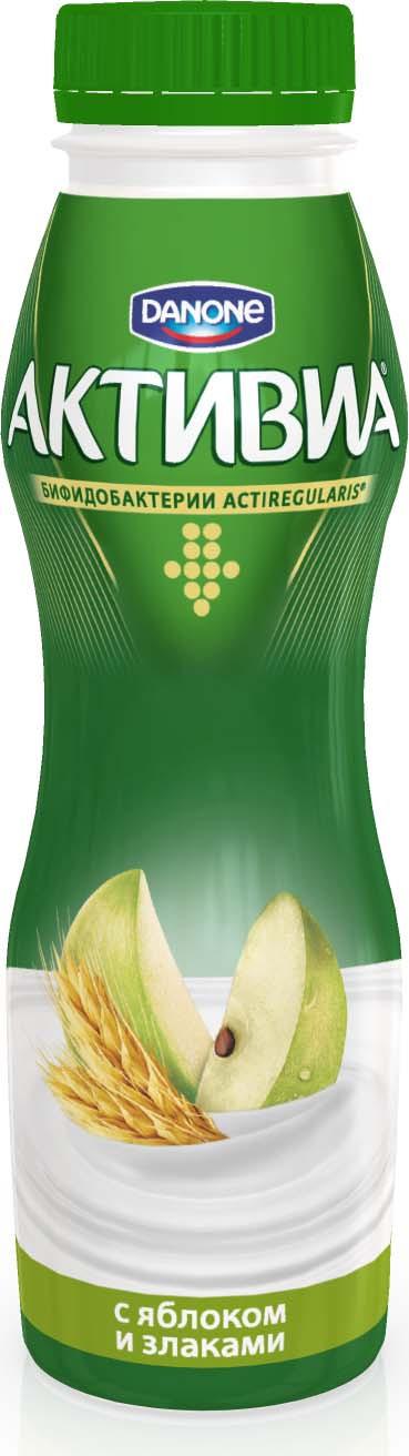 Активиа Биойогурт питьевой Яблоко злаки 2,2%, 290 г активиа биойогурт питьевой яблоко злаки 2 2% 290 г