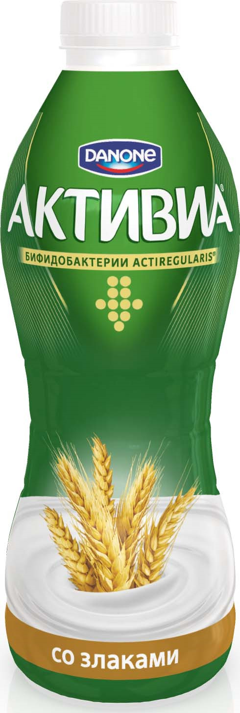 Активиа Биойогурт питьевой Злаки 2,2%, 870 г активиа биойогурт питьевой яблоко злаки 2 2% 290 г