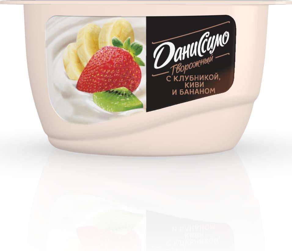 Даниссимо Продукт творожный Клубника киви банан 5,4%, 130 г даниссимо продукт творожный ягодное мороженое 5 6