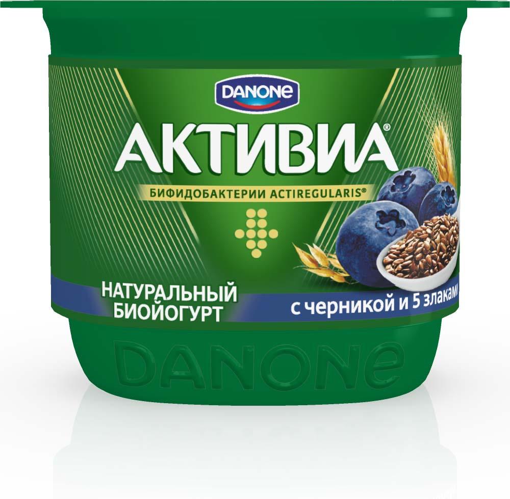 Активиа Биойогурт густой Черника-5 Злаков-Льняное семя 2,9%, 150 г активиа биойогурт густой чернослив 2 9% 150 г