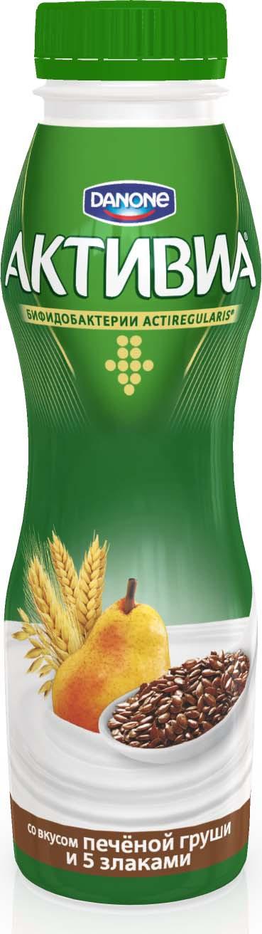 Активиа Биойогурт питьевой Печеная Груша-5 Злаков-Льняное семя 2,1%, 290 г активиа биойогурт питьевой яблоко злаки 2 2% 290 г