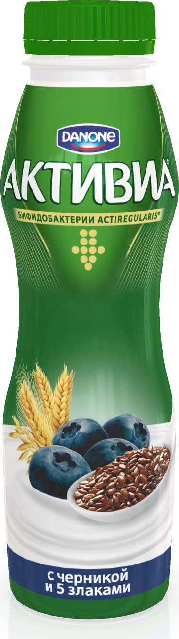 Активиа Биойогурт питьевой Черника-5 Злаков-Льняное семя 2,1%, 290 г