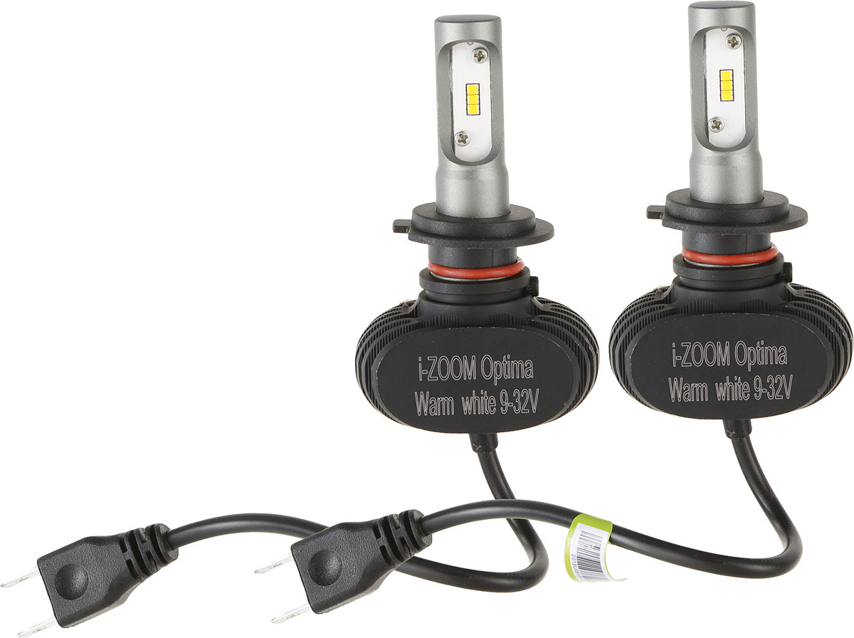 Лампа автомобильная Optima i-Zoom, светодиодная, Warm White, цоколь H7, 9-32V, 2 шт 6000k white h7 h11 h4 car light bulbs rgbw cob led car headlight lamp conversion kit waterproof ip67 dc9 32v