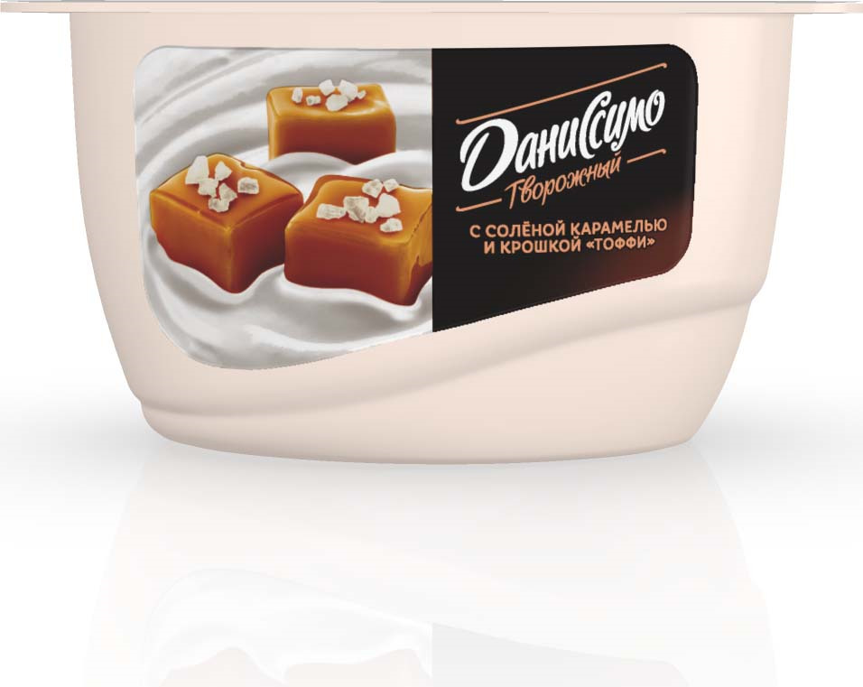 Даниссимо Творожный с Соленой карамелью и крошкой Тоффи, 130 г danone продукт творожный персик абрикос 3 6% 170 г
