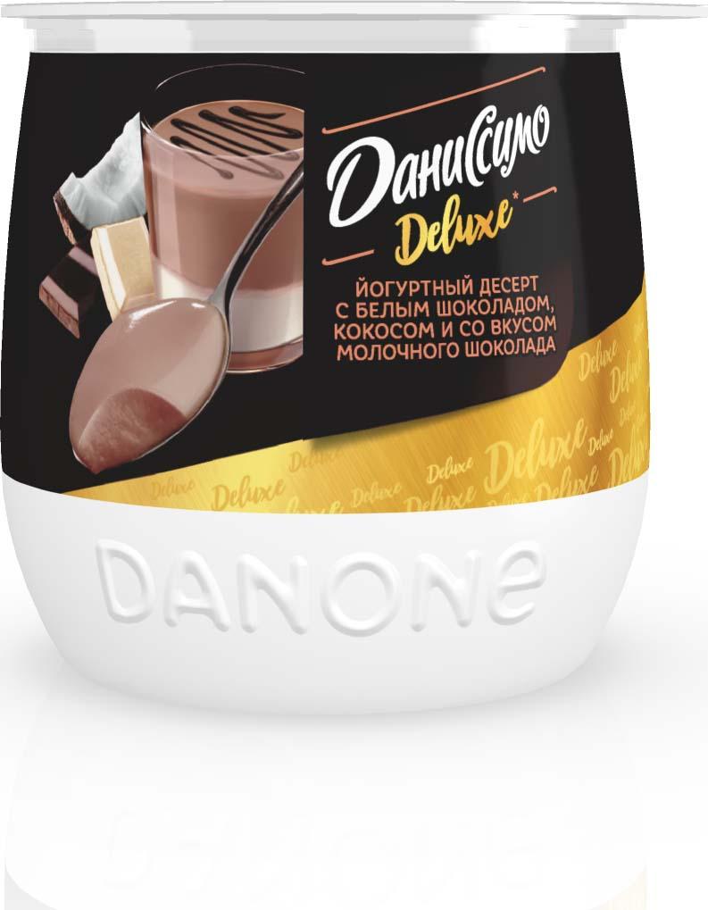 Йогуртный десерт Даниссимо Deluxe, со вкусом молочного шоколада и с белым шоколадом кокосом, 5,2%, 160 г