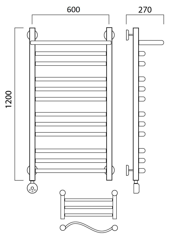 Электрический полотенцесушитель Роснерж Волна L201110 120x60 с полкой групповой, ЛЕВЫЙ ТЭН Роснерж