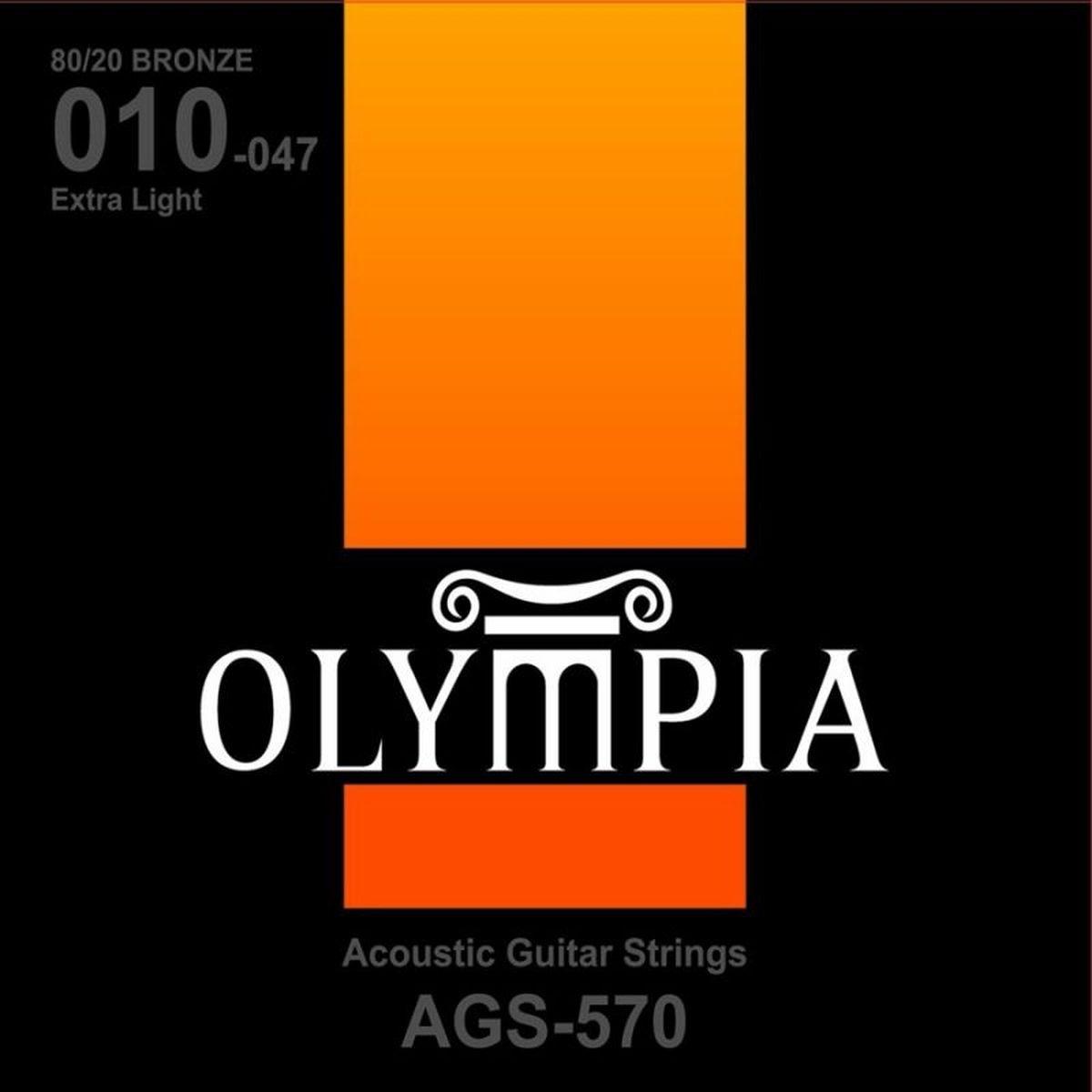 Струны для акустической гитары Olympia Bronze (10-14-23w-30-39-47), AGS570
