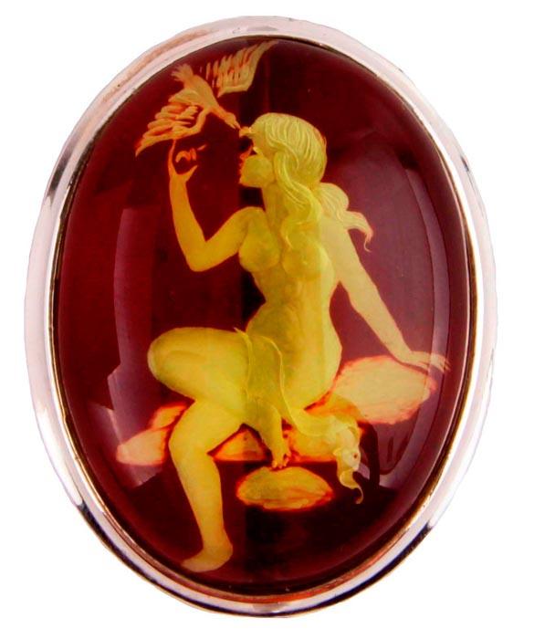 """Брошь бижутерная Антик Хобби """"Девушка и птица"""", Бижутерный сплав, Стекло, серебристый, красный, желтый"""