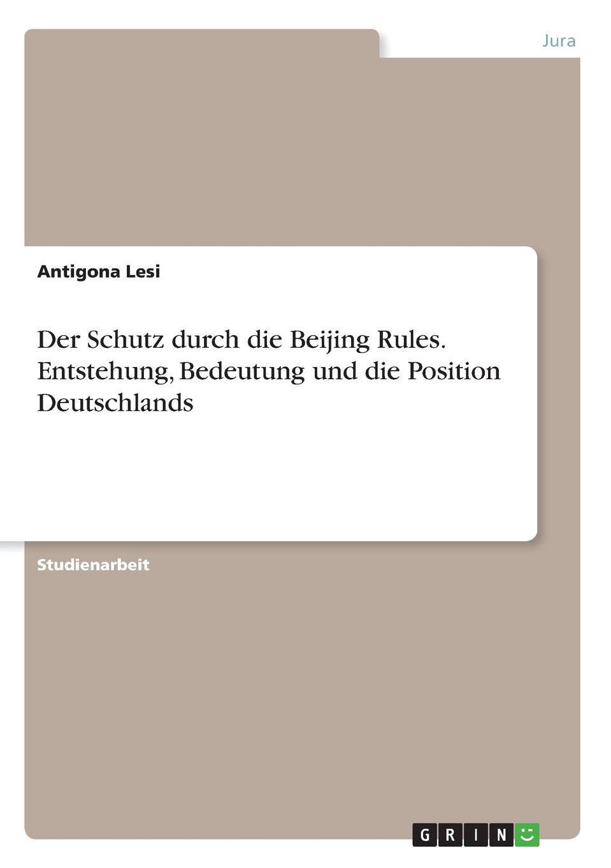 Antigona Lesi Der Schutz durch die Beijing Rules. Entstehung, Bedeutung und die Position Deutschlands beijing