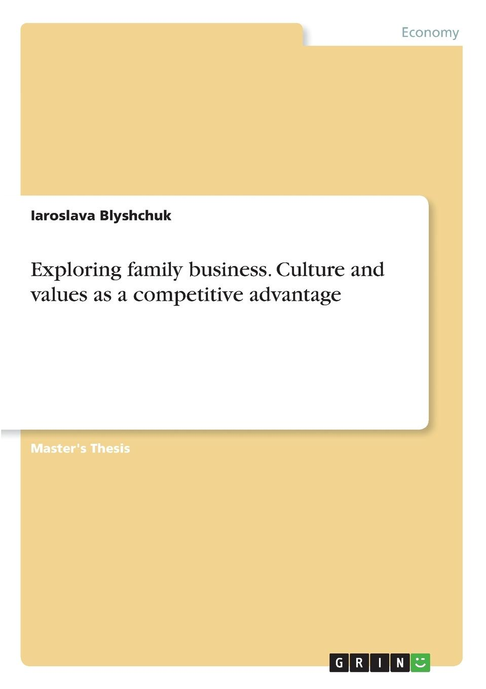 Iaroslava Blyshchuk Exploring family business. Culture and values as a competitive advantage iaroslava blyshchuk exploring family business culture and values as a competitive advantage