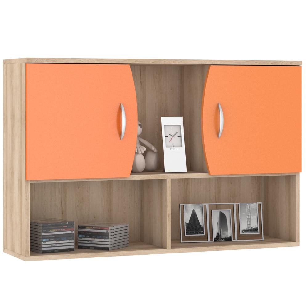 16700a95a797 Шкаф книжный Моби Ника 416М навесной, цвет бук песочный/оранжевый