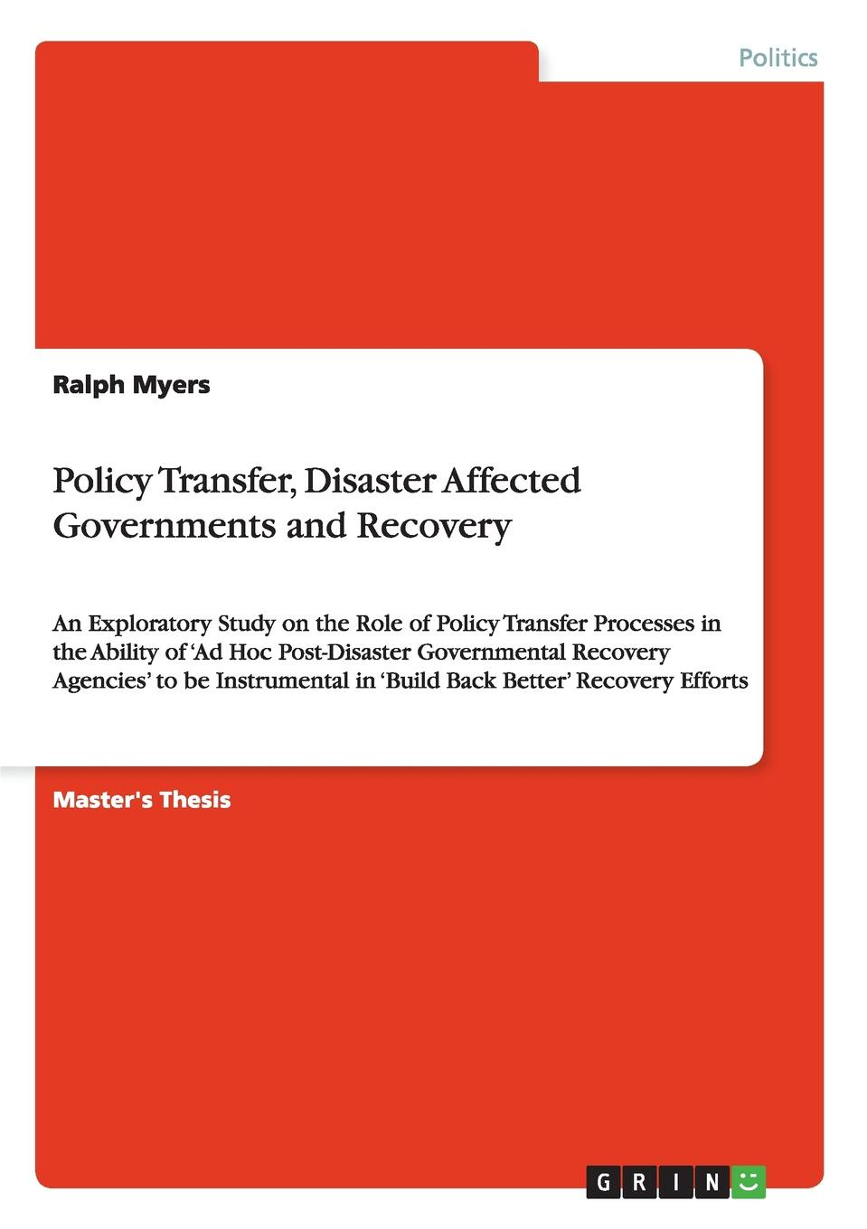 Ralph Myers Policy Transfer, Disaster Affected Governments and Recovery patrick roose chemical marine monitoring policy framework and analytical trends