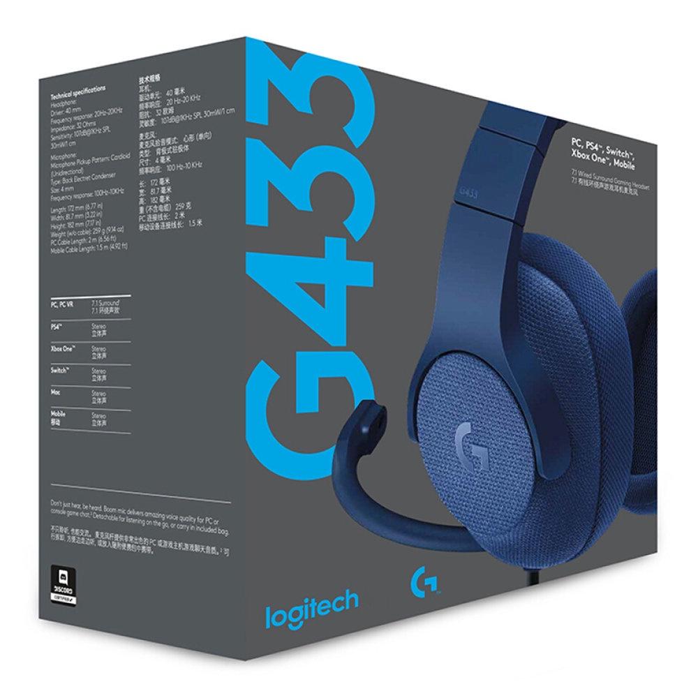 Bluetooth-гарнитура Logitech G433 7.1, синий bluetooth гарнитура logitech g433 7 1 синий