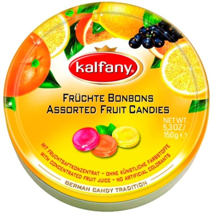 Леденцы Kalfany (Германия) со вкусами апельсина, лимона и черной смородины 150г