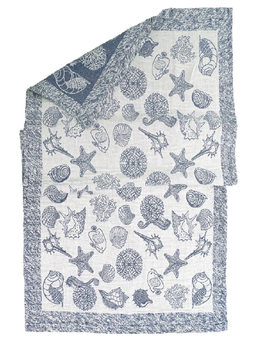 Полотенце для бани Море, светло-серый, синий цена