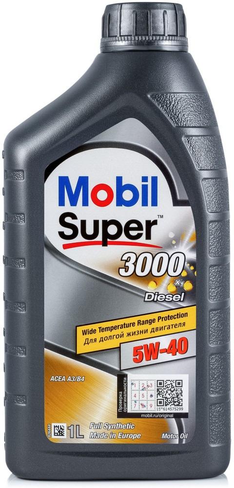 Масло моторное Mobil Super 3000 X1 Diesel, синтетическое, класс вязкости 5W-40, 1 л