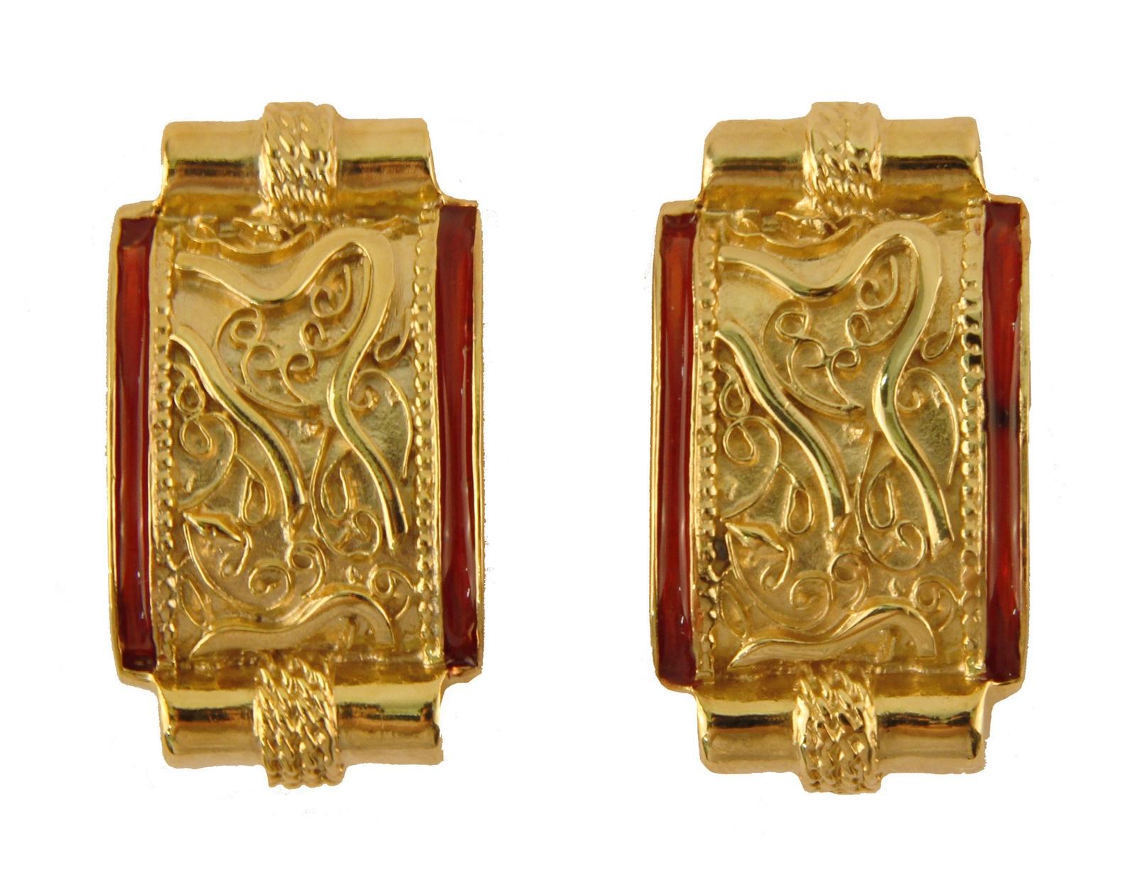 Клипсы бижутерные Butler & Wilson OC36039, Бижутерный сплав, Эмаль, золотой, бордовый брошь от butler