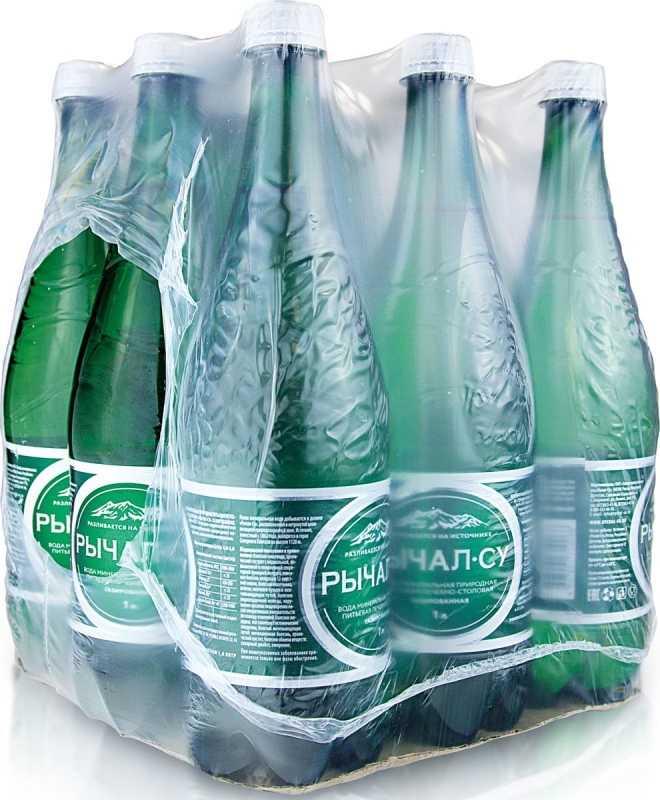 Вода минеральная Рычал су газированная пэт, 1л, упаковка 9шт